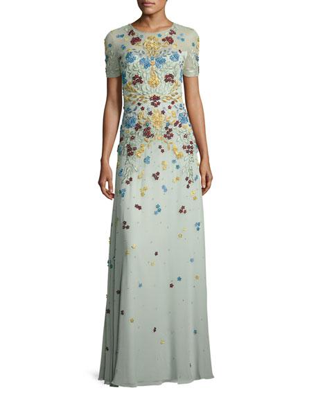 Floral-Appliqué Short-Sleeve Illusion Gown