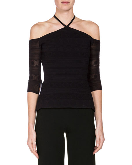 Grace Lace Cold-Shoulder Halter Top, Black