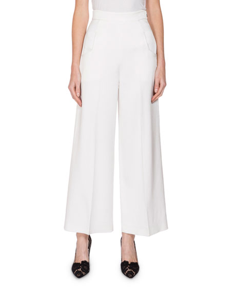 Roland Mouret Ward High-Rise Cropped Pants, White