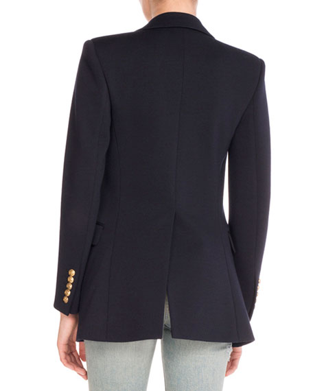 Angie Anchor-Button Wool Blazer, Navy