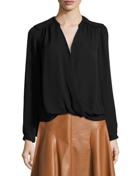 Rebecca Taylor Danielle Silk Surplice Wrap Top, Black
