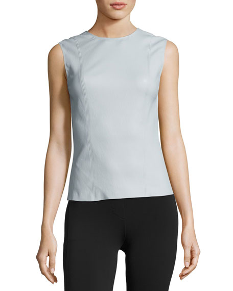 Helmut Lang Stretch Leather Shell Top, Opal