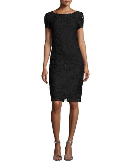 Guipure-Lace Short-Sleeve Sheath Dress