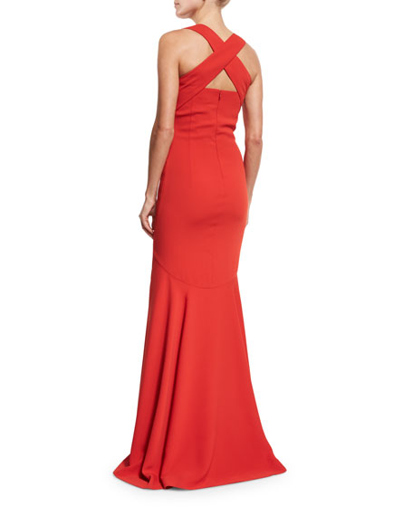 Crisscross-Back Sleeveless Gown, Red