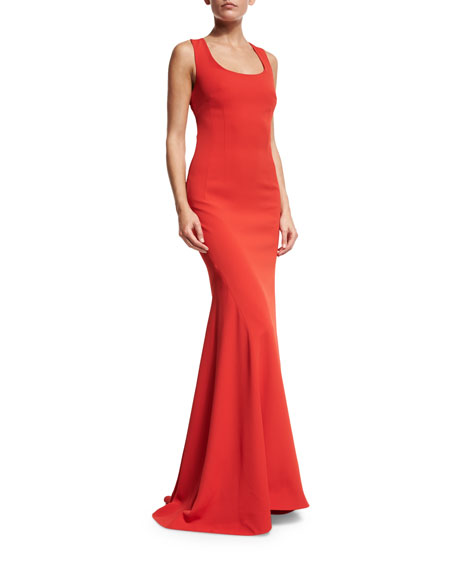 Crisscross-Back Sleeveless Gown, Red