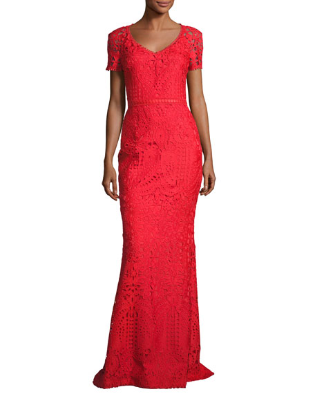 Embroidered Lace Short-Sleeve Gown, Red