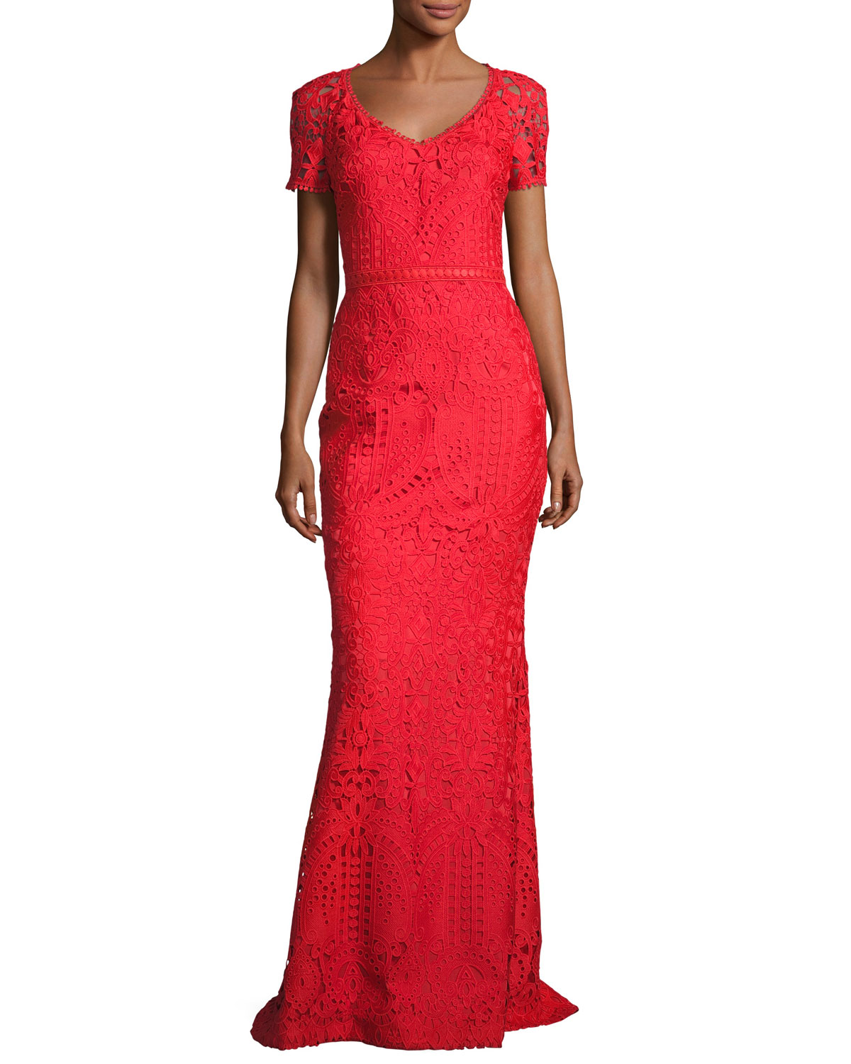 St. John Collection Embroidered Lace Short-Sleeve Gown, Red   Neiman ...