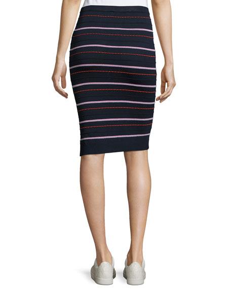 Graphic-Dot Ottoman-Knit Pencil Skirt, Blue Pattern