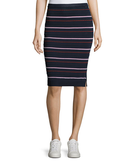 Graphic-Dot Ottoman-Knit Pencil Skirt, Blue Pattern