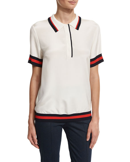 St. John Collection Striped-Trim Polo Shirt, White