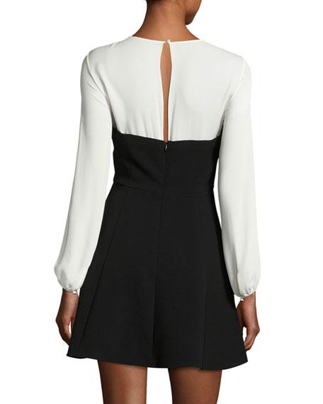 Seraphina Two-Tone Long-Sleeve Mini Dress, Black/White