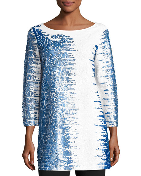 Joan Vass 3/4-Sleeve Gradient Sequined Tunic