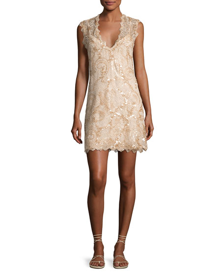 Saria Sequined Lace Coverup Dress, Beige