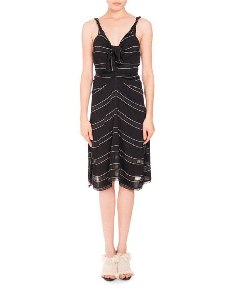 Pinstriped Gauzy Crepe Cami Dress, Black/White