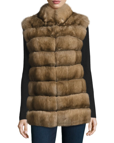 Cashmere-Belt Sable Vest