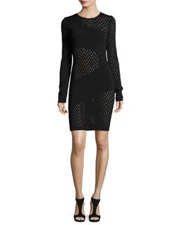 Long-Sleeve Mesh-Inset Dress