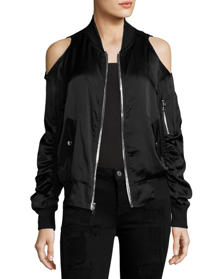 Jester Cold-Shoulder Silk-Satin Bomber, Black