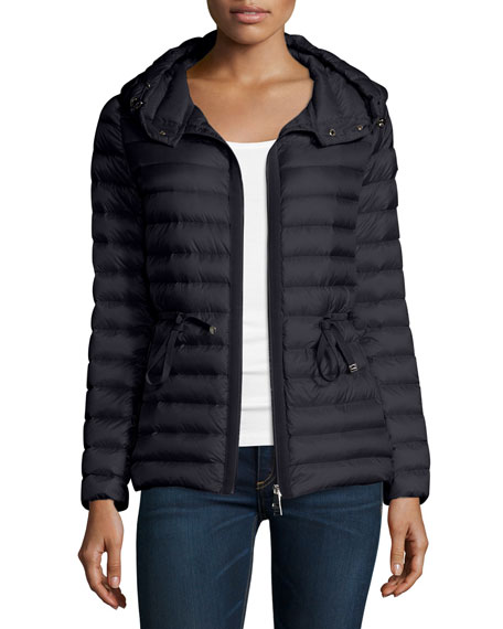 Raie Hooded Down Jacket, Navy Blue
