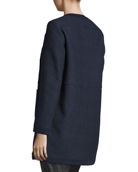 Freesia Tweed Collarless Reversible Coat