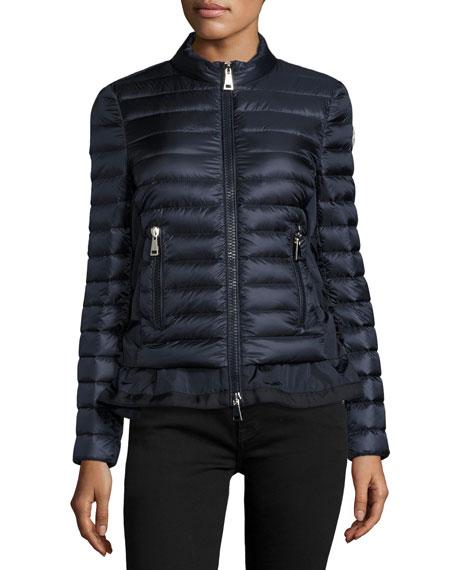 Moncler Diantha Laced-Down Peplum Jacket, Blue