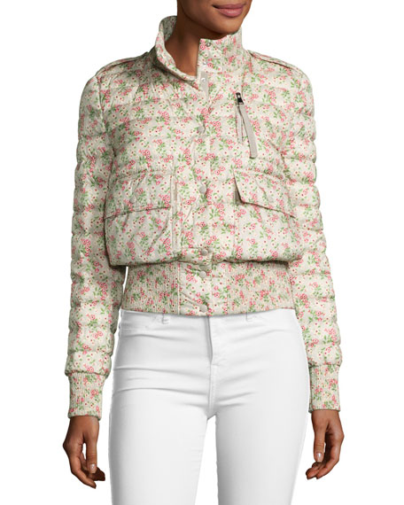 Silene Boxy Floral Bomber Jacket, Neutral