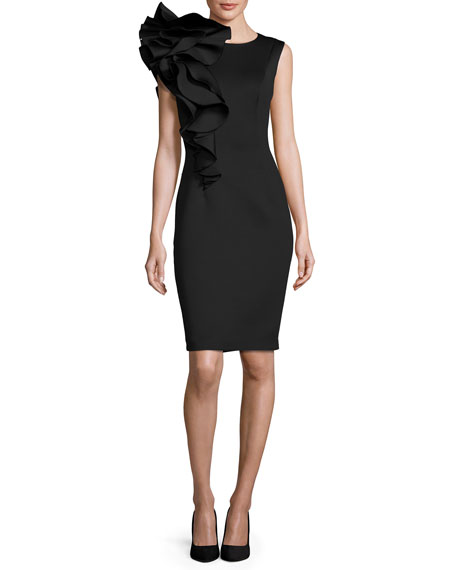 Sleeveless Ruffle-Trim Crepe Sheath Dress, Black
