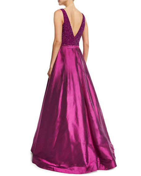 Sleeveless Embellished Silk Taffeta Ball Gown, Magenta