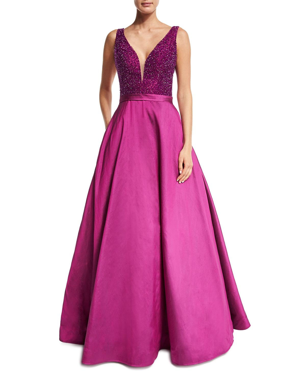 Jovani Sleeveless Embellished Silk Taffeta Ball Gown, Magenta ...