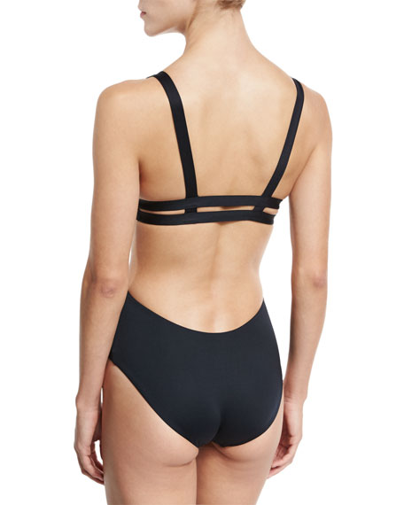 Ava Solid Triangle Monokini, Black