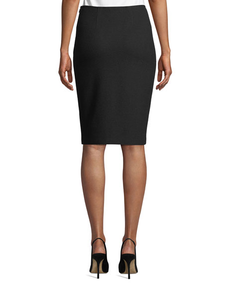 Micro Boucle Knit Pencil Skirt, Black