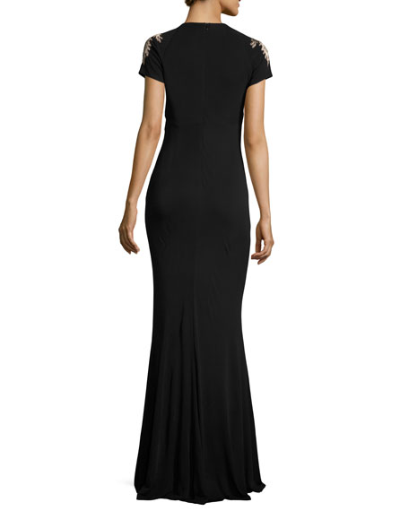 Short-Sleeve Acanthus Jersey Gown, Black