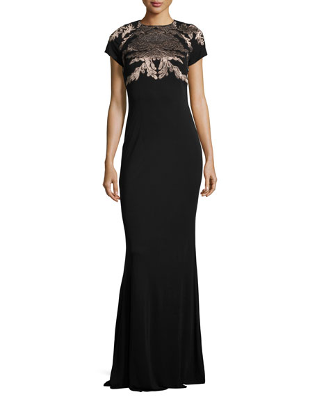David Meister Short-Sleeve Acanthus Jersey Gown, Black
