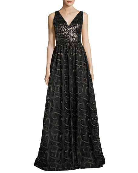 David Meister Sleeveless Mixed-Media Ball Gown, Gold/Black