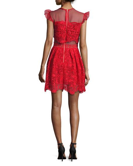 Manhattan Lace Mini Dress, Red