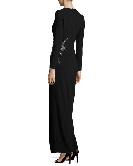 Long-Sleeve Embellished Faux-Wrap Gown, Black