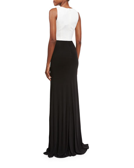 Sleeveless Two-Tone Floral Jersey Gown, White/Black