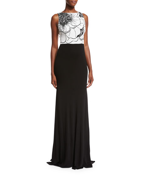 David Meister Sleeveless Two-Tone Floral Jersey Gown, White/Black