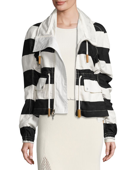 Derek Lam Striped Cropped Anorak Jacket, Multi