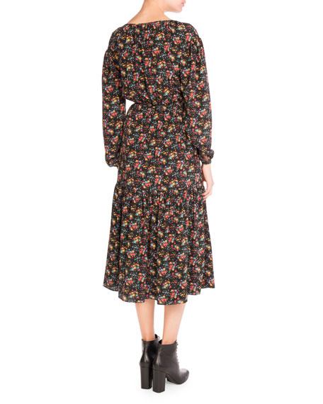 Bouquet-Print Peasant Midi Dress, Black Pattern