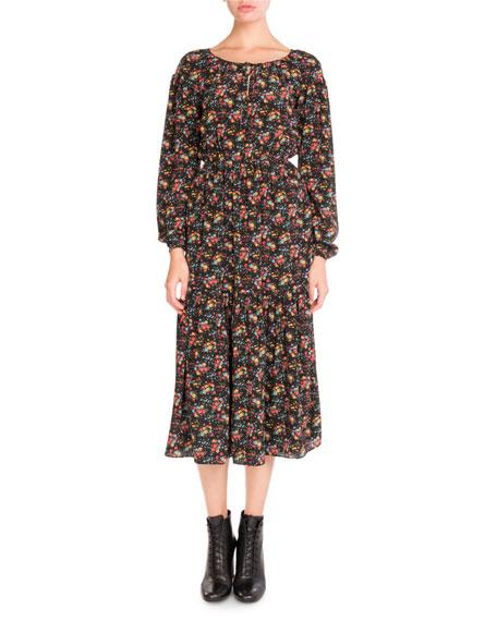 Saint Laurent Bouquet-Print Peasant Midi Dress, Black Pattern