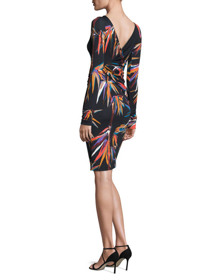 Long-Sleeve Boat-Neck Sheath Dress, Black/Multi Print