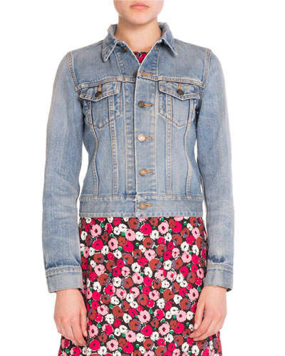 Love-Patch Denim Jacket, Slate