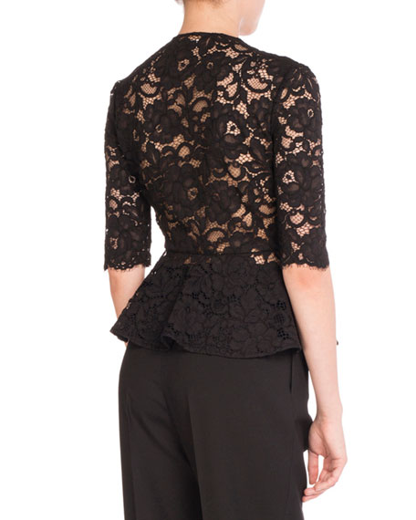 Lace Bow V-Neck Peplum Top, Black