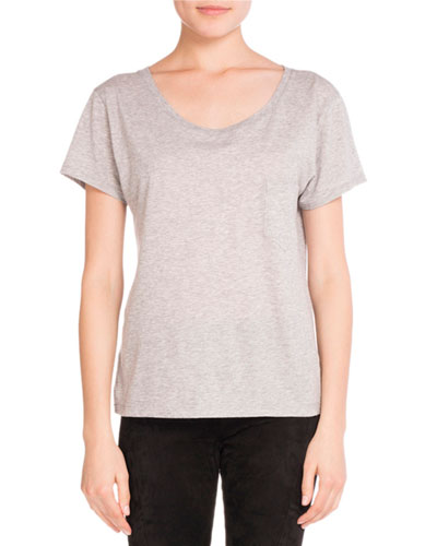 Ballet-Neck Cotton Tee, Gray