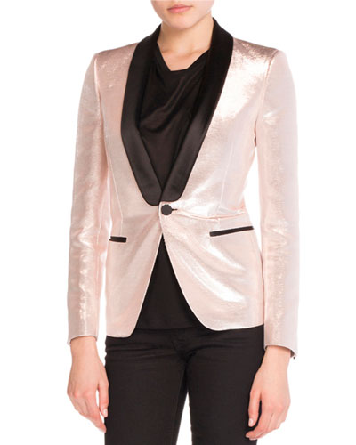 Shawl-Collar Lam? Jacket, Rose Gold