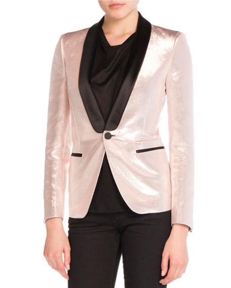 Shawl-Collar Lamé Jacket, Rose Gold