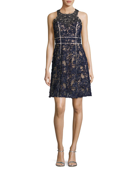 Marchesa Notte Sleeveless Beaded Lace Cocktail Dress, Navy
