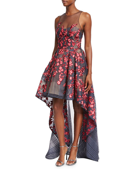 Marchesa Notte Embroidered Mesh High-Low Illusion Gown, Navy