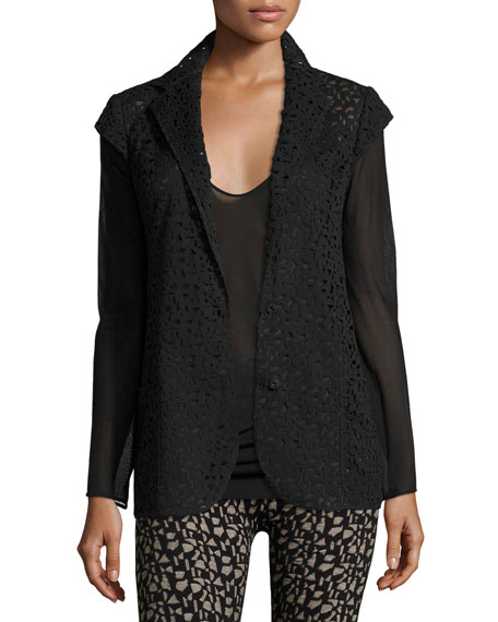 Akris Laser-Cut Knit-Back Jacket, Black