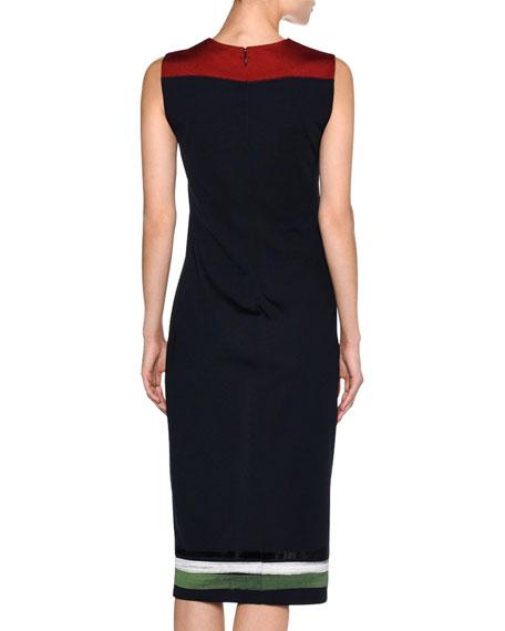 Floral-Yoke Sleeveless Sheath Dress, Blue Pattern